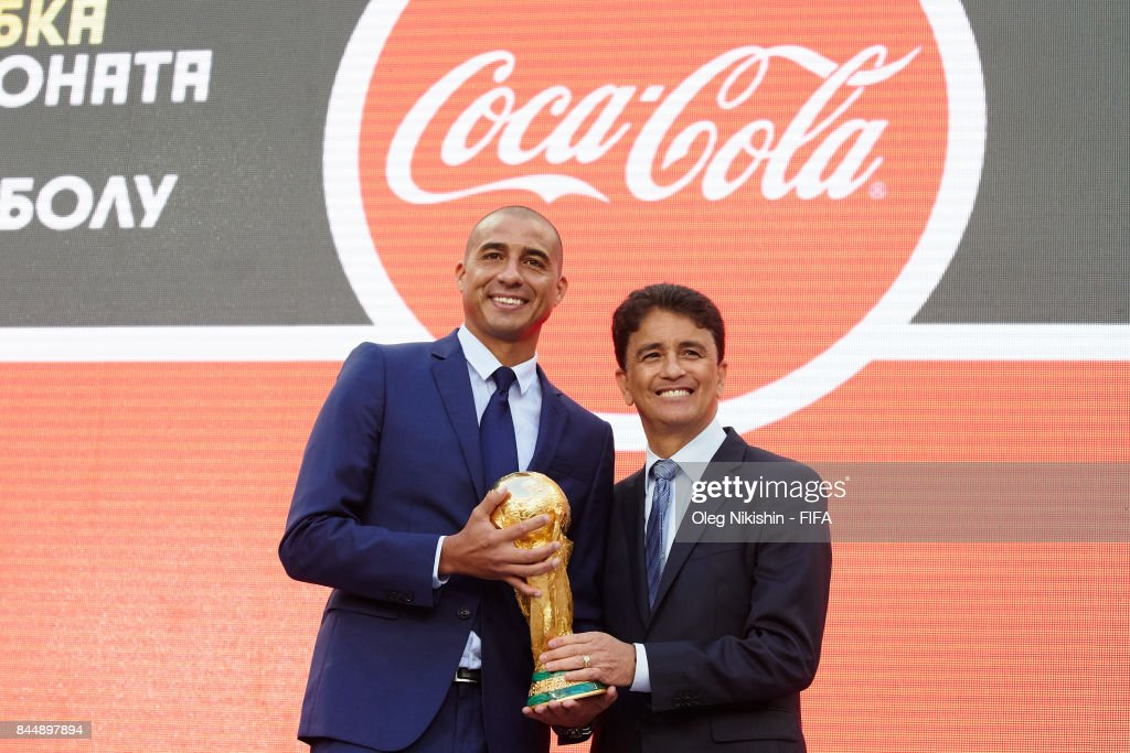Legends Bebeto and David Trezeguet pose with the trophy during official kickoff event FIFA World Cup Trophy Tour at Luzhniki stadium on September 9, 2017 in Moscow, Russia.