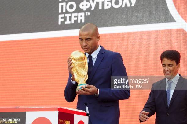 Legends Bebeto and David Trezeguet stay with a Troph during official kickoff event FIFA World Cup Trophy Tour at Luzhniki stadium on September 9 2017...