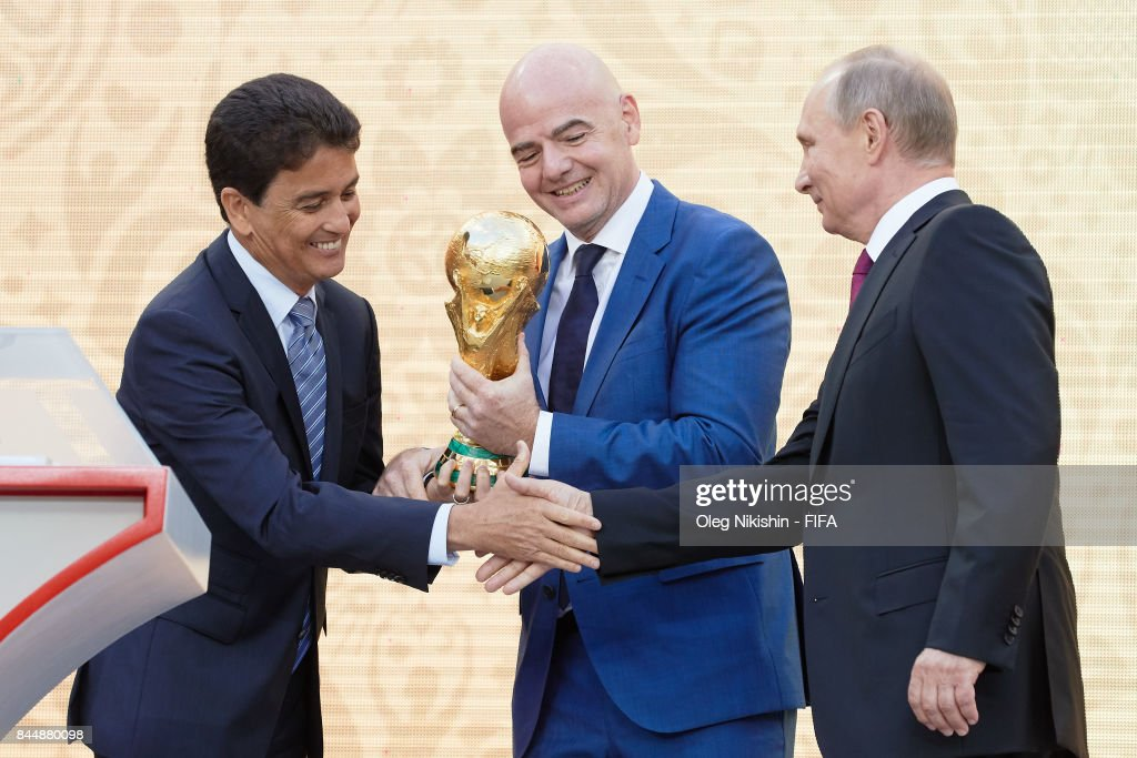 Legends Bebeto, FIFA President GianniInfantino and Russian Federation President Vladimir Putin on th stage during FIFA World Cup Trophy Tour at Luzhniki stadium on September 9, 2017 in Moscow, Russia.
