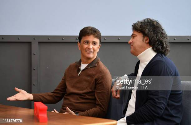Legends Bebeto of Brazil and Fernando Couto of Portugal talk during an interview prior to the official draw on February 23 2019 in Gdynia Poland