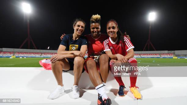Legends Carli Lloyd Karina LeBlanc and Alex Scott pose for a photo at the Bahrain National Stadium ahead of the 67th FIFA Congress on May 10 2017 in...