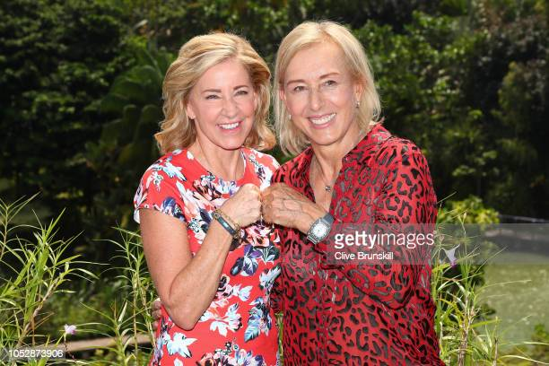 Legends Chris Evert and Martina Navratilova laugh as they pose for a photo about their long time rivarly at during day 4 of the BNP Paribas WTA...