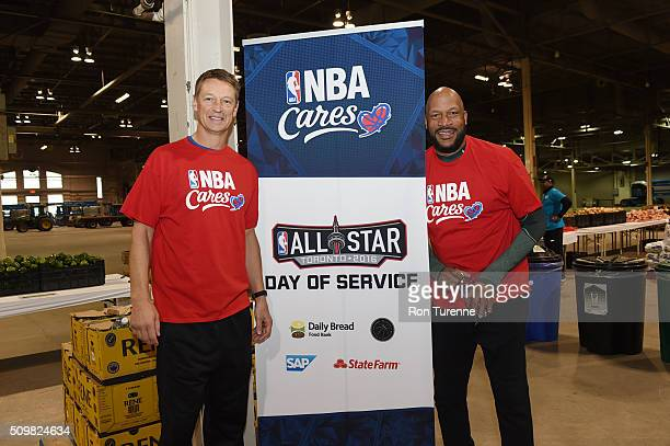 Legends Detlef Schrempf and Ron Harper participate during the NBA Cares AllStar Day of Service as part of 2016 AllStar Weekend at NBA Centre Court of...