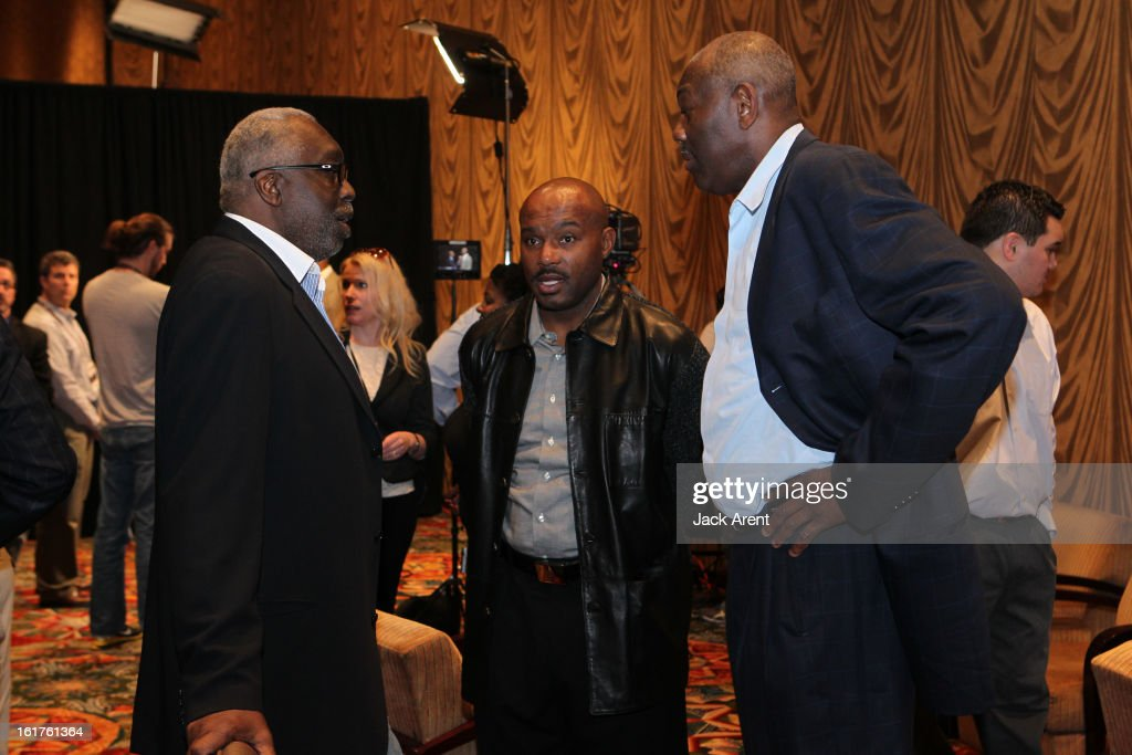 NBA Legends Earl Monroe, Tim Hardaway and Bob McAdoo chats at the Hall of Fame press conference during of the 2013 NBA All-Star Weekend at the Hilton Americas Hotel on February 15, 2013 in Houston, Texas.