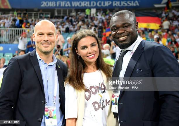 FIFA legends Fredrik Ljungberg and Gerald Asamoah pose prior to the 2018 FIFA World Cup Russia group F match between Germany and Sweden at Fisht...