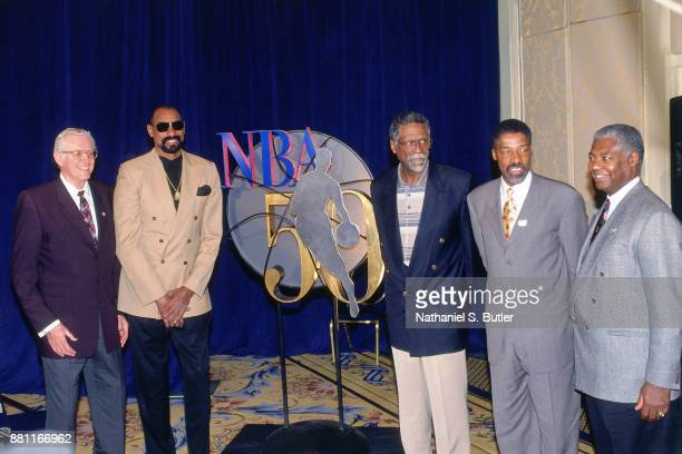 Legends George MikanWilt ChamberlainBill RussellJulius Erving and Oscar Robertson pose for a photo during a press conference to announce the 50...
