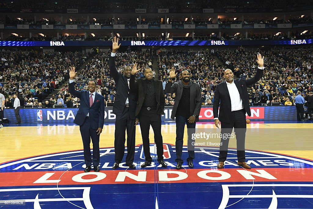 NBA Legends Isiah Thomas, Dikembe Mutombo,Marcus Camby, Ronny Turiaf and John Amaechi wave to the crowd during the game as part of 2017 NBA London Global Games at the O2 Arena on January 12, 2017 in London, England.