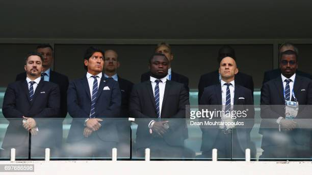 FIFA legends Ivan Zamorano Gerald Asamoah and Mark Bresciano look on prior to the FIFA Confederations Cup Russia 2017 Group B match between Australia...