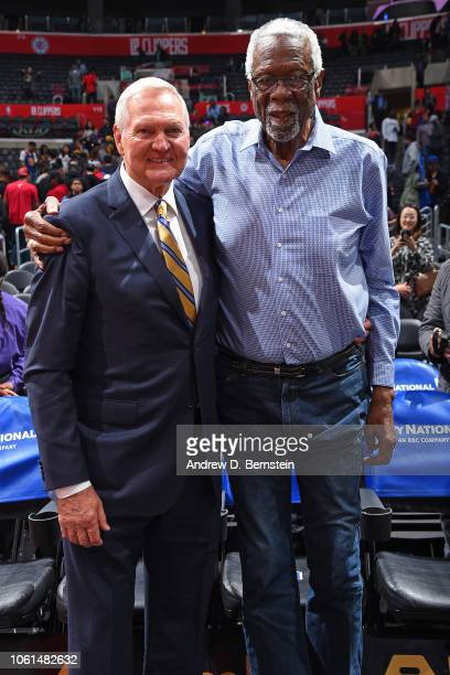 Legends Jerry West and Bill Russell attend the Golden State Warriors game against the LA Clippers on November 12 2018 at STAPLES Center in Los...