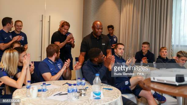 Legends Michel Salgado and Emmanuel Amunike attend the England team during a FIFA Ethics Workshop ahead of the FIFA U-17 World Cup India 2017...