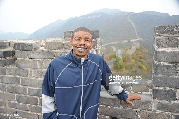 Legends Muggsy Bogues visits the Great Wall as part of 2013 Global Games on October 13 2013 at the Great Wall in Beijing China NOTE TO USER User...