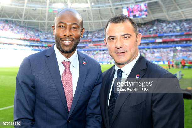 FIFA legends Paulo Wanchope of Costa Rica and Dejan Stankovic of Serbia pose during the 2018 FIFA World Cup Russia group E match between Costa Rica...