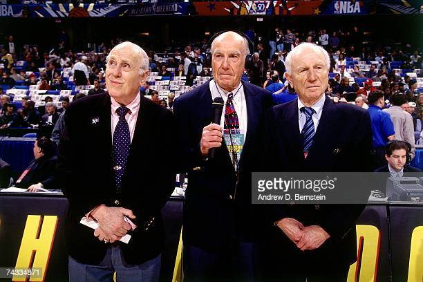 Legends Red Holzman Red Auerbach and Dr Jack Ramsay pose for a photo during the 1997 Rookie Game played February 8 1997 at the Gund Arena in...