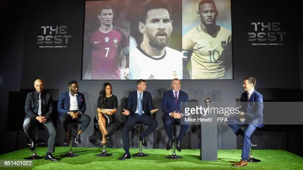 Legends Roberto Di Matteo Jay Jay Okocha Alex Scott Andriy Shevchenko and Peter Shilton attend The Best FIFA Football Awards 2017 press conference at...