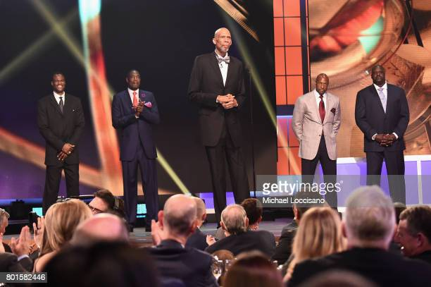 NBA legends Shaquille O'Neal Kareem AbdulJabbar Alonzo Mourning and NBA Lifetime Achievement Award Winner Bill Russell on stage during the 2017 NBA...