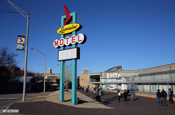 Legends tour the exhibits on January 18 2015 at the National Civil Rights Museum at the Lorraine Motel in Memphis Tennessee NOTE TO USER User...