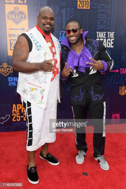 Legends Vince Wilfork and DeAngelo Williams attend the 2019 NFL Draft on April 25 2019 in Nashville Tennessee