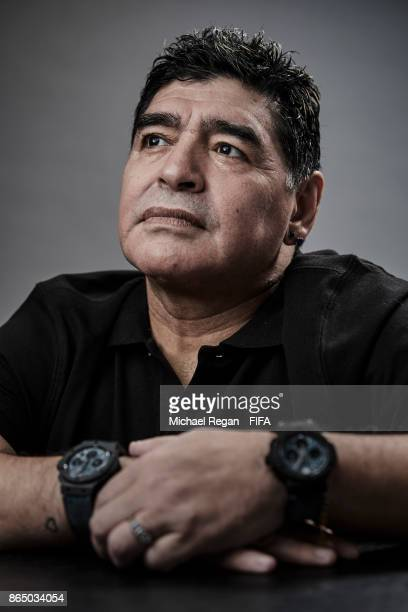 FIFA Legened Diego Maradona poses prior to The Best FIFA Football Awards at The May Fair Hotel on October 22 2017 in London England
