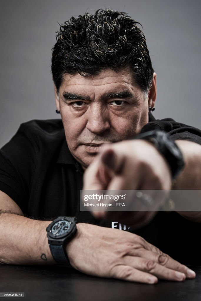 Legened, Diego Maradona poses prior to The Best FIFA Football Awards at The May Fair Hotel on October 22, 2017 in London, England.