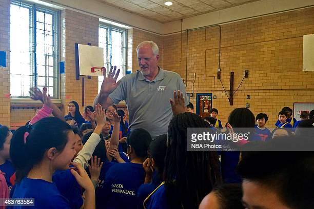 Legened Mark Eaton participates in NBA Cares/FIT Day of Service at West PS 020 John Browne during the 2015 NBA AllStar on February 13 2015 in Queens...