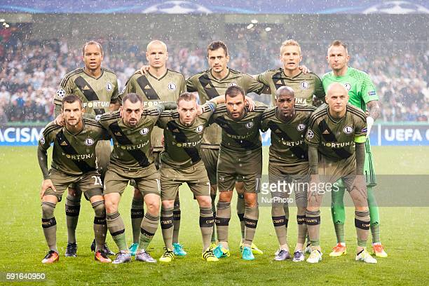 Legia Warsaw football team poses for photo during the UEFA Champions League PlayOffs 1st leg between Dundalk FC and Legia Warsaw at Aviva Stadium in...