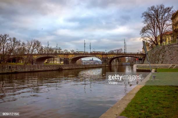 Legion Bridge (Most Legií) and the Vltava River, Prague, Czech Republic