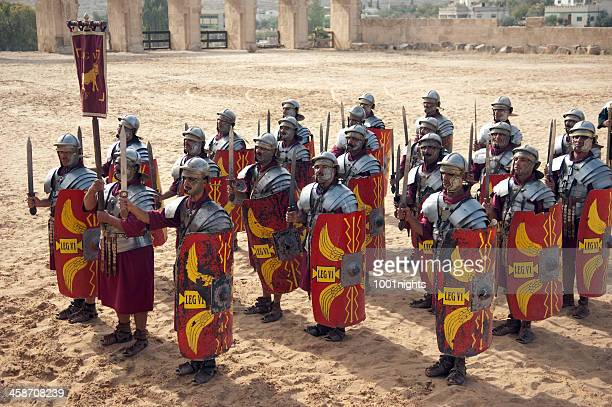 legion in formation - jerash, jordan - roman army stock pictures, royalty-free photos & images