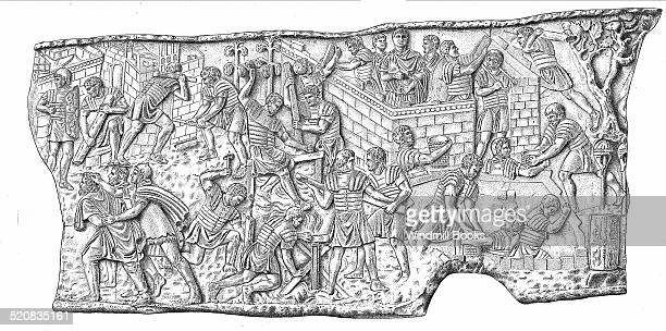 Legionaries spent more time building than fighting This scene from Trajan's column shows the construction of a camp during the Dacian wars The men...
