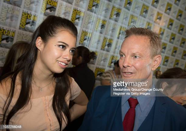 Legion's Amber Midthunder left and Bill Irwin talk with the media during ComicCon International at the San Diego Convention Center in San Diego CA on...