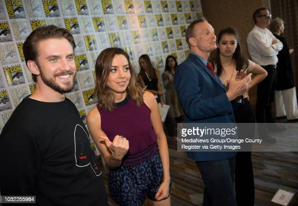 Legion's Dan Stevens left and Aubrey Plaza chat with the media next to fellow actors Bill Irwin and Amber Midthunder during ComicCon International at...