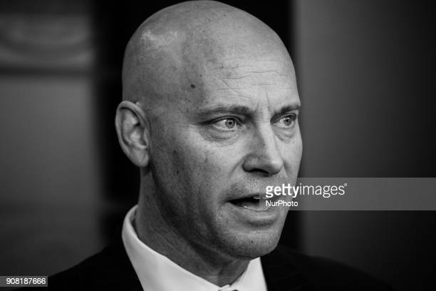 Legislative Affairs Director Marc Short speaks during a press briefing on the government shutdown in the James S Brady Press Briefing Room of the...