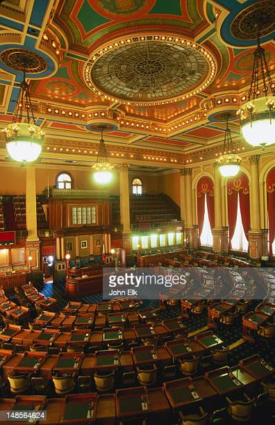 legislative chamber interior, iowa state capitol. - house of representatives stock pictures, royalty-free photos & images