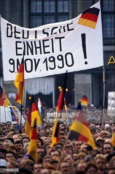 Legislative election Helmut Kohl in Leipzig Germany In March 1990Meeting in Karl Marx place in Leipzig