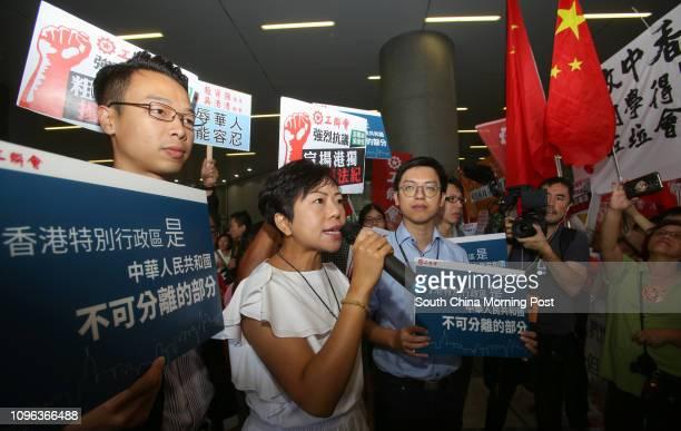 Legislator Alice Mak Meikuen speaks outside the Legco in Tamar 19OCT16 SCMP / Xiaomei Chen