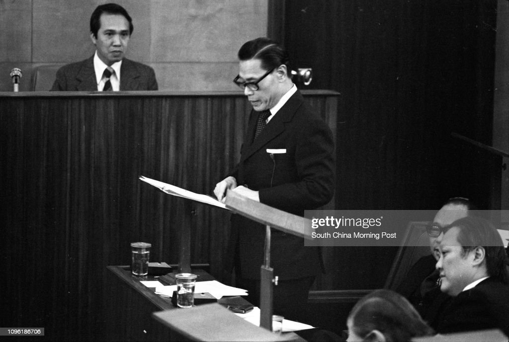 Legislator Sir Sze-yuen Chung, Chairman of the Board of Governors, reporting the development of the Hong Kong Polytechnic at a Legislative Council session. 25JAN78 : News Photo