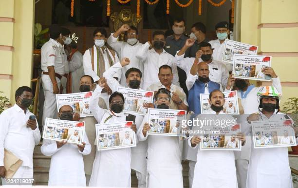 Legislators demonstrating in support of various demands during Monsoon Session at the campus of Bihar Assembly on July 26, 2021 in Patna, India.