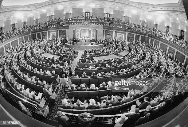 Legislators pack the House Chamber at the Capitol, to hear President Reagan give his 1983 State of the Union address.