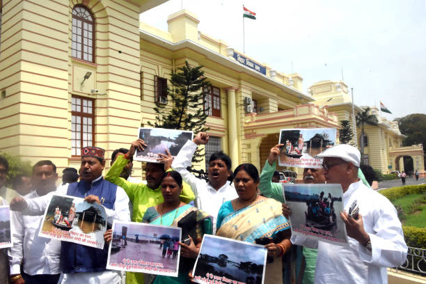 IND: RJD Legislators Protest At Assembly Over The Bihar Flood Situation
