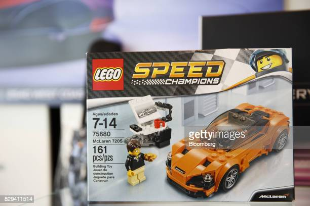 A Lego A/S Speed Champions McLaren 720S toy set stands inside the McLaren Newport Beach dealership in Newport Beach California US on Tuesday July 25...