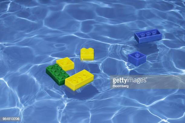 Lego bricks float in a pool of water at the Legoland Dubai theme park operated by DXB Entertainments PJSC in Dubai United Arab Emirates on Wednesday...
