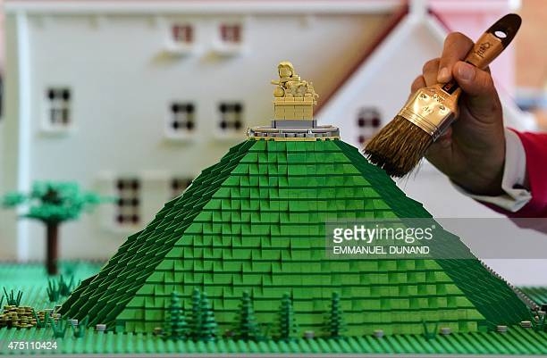 Lego bricks replica of La Butte du Lion , the main memorial monument of the Battle of Waterloo, is prepared prior to the opening of the History in...