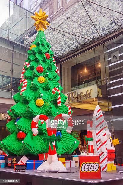 Lego Christmas Tree outside Westfield Sydney