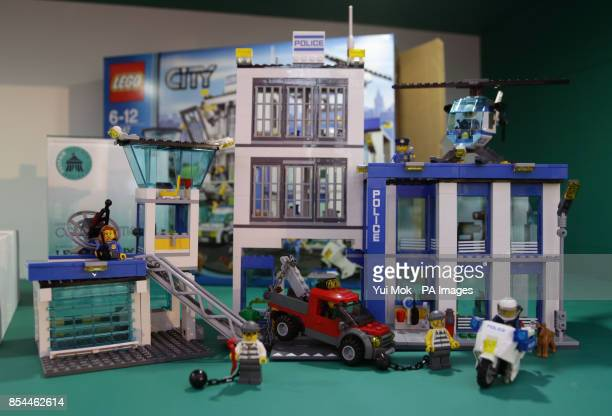 A Lego City Police Station set on display during the press day for the annual Toy Fair where more than 280 companies launch thousands of brand new...