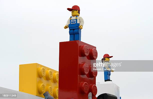 Lego figures at the entrance of Legoland California theme park next to North America's first ever Legoland Hotel at Legoland on September 17 2013 in...