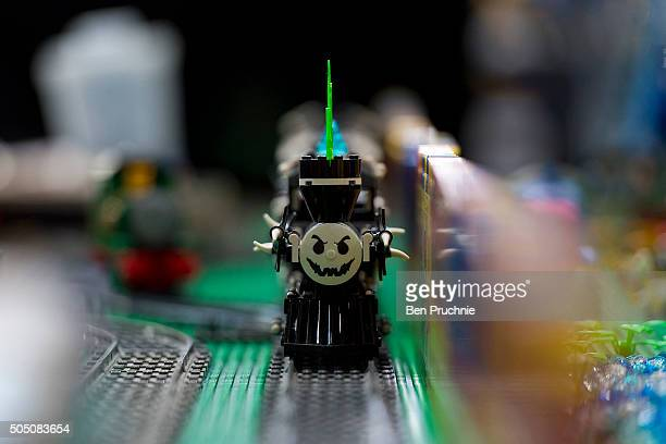 A lego ghost train is displayed during The 20th London Model Engineering Exhibition at Alexandra Palace on January 15 2016 in London England The...