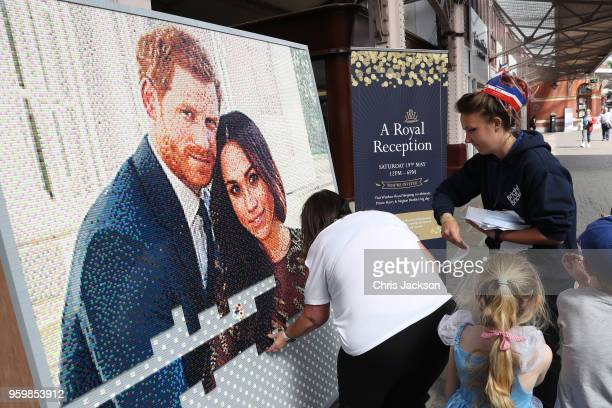 Lego interpretation is pieced together ahead of the royal wedding of Prince Harry and Meghan Markle on May 18 2018 in Windsor England