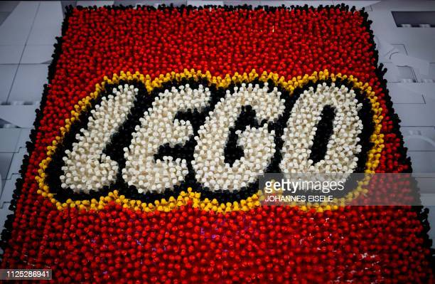 A Lego logo is pictured during the annual New York Toy Fair at the Jacob K Javits Convention Center on February 16 2019 in New York City