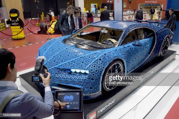 A Lego made Bugatti Chiron model is presented during the press days of the Paris Motor Show on October 2nd 2018