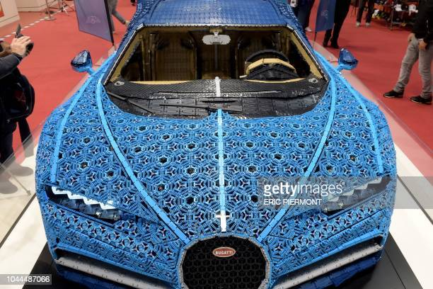 Lego made Bugatti Chiron model is presented during the press days of the Paris Motor Show on October 2nd 2018