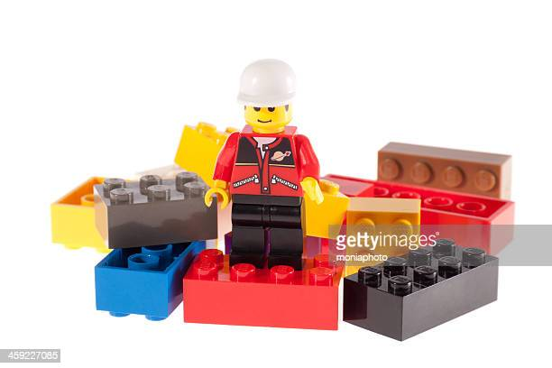 lego man on bricks - lego stock pictures, royalty-free photos & images